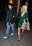 Christina Aguilera with great cleavage leaving the Soho Grand Hotel in New York City